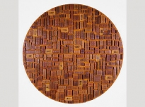 Ghana I, 1995, Asante gold weights, Ghana (Brighton Royal Pavilion & Museums, World Art Collection), perspex cases, African beeswax on board, 165 cms diameter