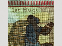 Sampler acc. 806 (detail), 1997, needle-point, wadding, brass studs on wooden frame, 46 x 51 cms