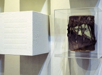 Provenance Unknown (detail), 1995, Drum (Brighton Royal Pavilion & Museums, World Art Collection), perspex case, milk powder on board