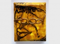 Food, 1998, graphite powder, poly vinyl acetate, photocopy transfer, African bees wax on canvas on board' 22 x 18 x 5 cms