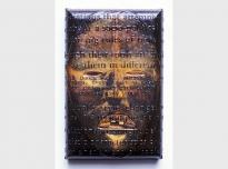 Dan, 1996, acrylic, poly vinyl acetate, colour photocopy and photocopy transfer on canvas, 25 x 16 x 4.5 cms