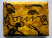 Young' 1998, graphite powder, poly vinyl acetate, photocopy transfer, African bees wax on canvas on board, 22 x 20 x 5 cms